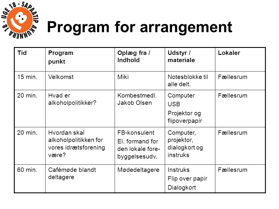 Program for arrangement