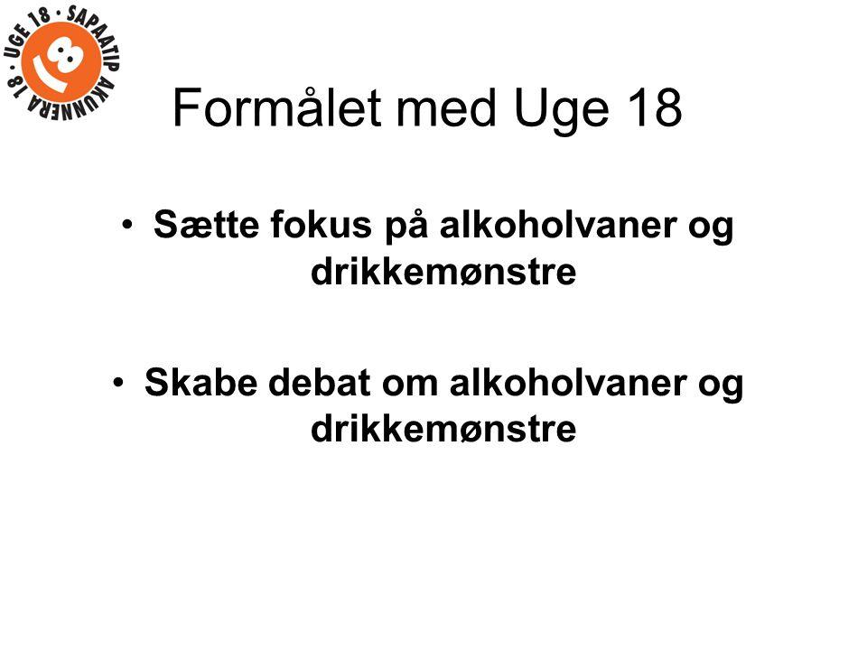 Formålet med Uge 18 Sætte fokus på alkoholvaner og drikkemønstre