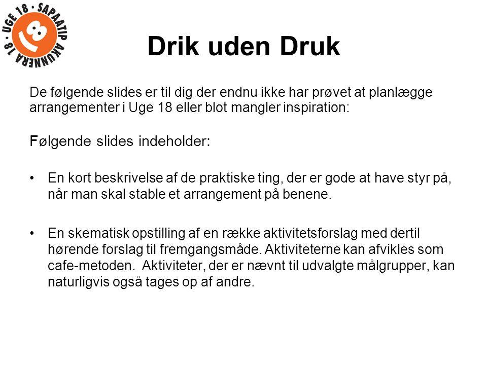 Drik uden Druk Følgende slides indeholder: