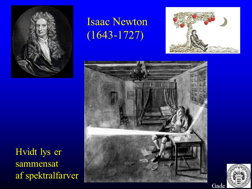 Isaac Newton (1643-1727) Hvidt lys er sammensat af spektralfarver Gade