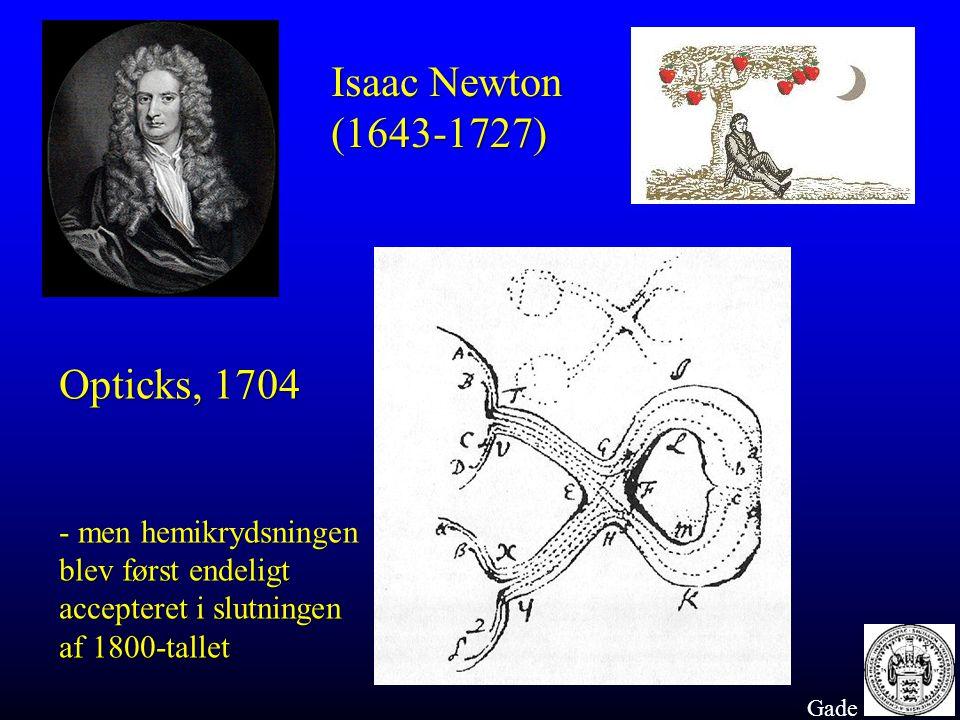 Isaac Newton (1643-1727) Opticks, 1704