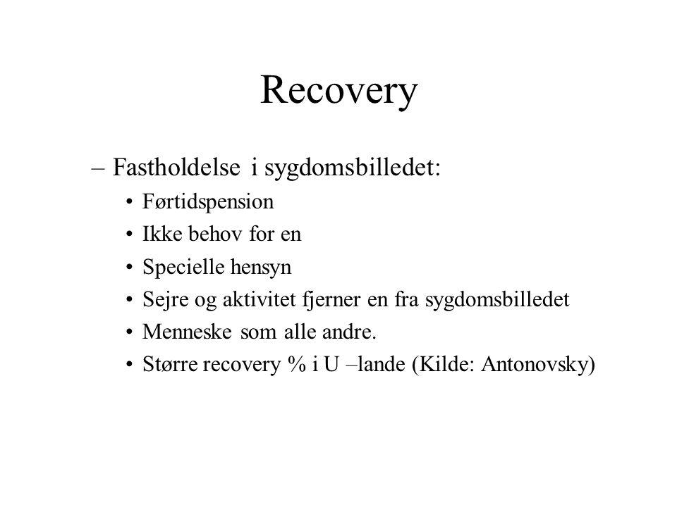 Recovery Fastholdelse i sygdomsbilledet: Førtidspension