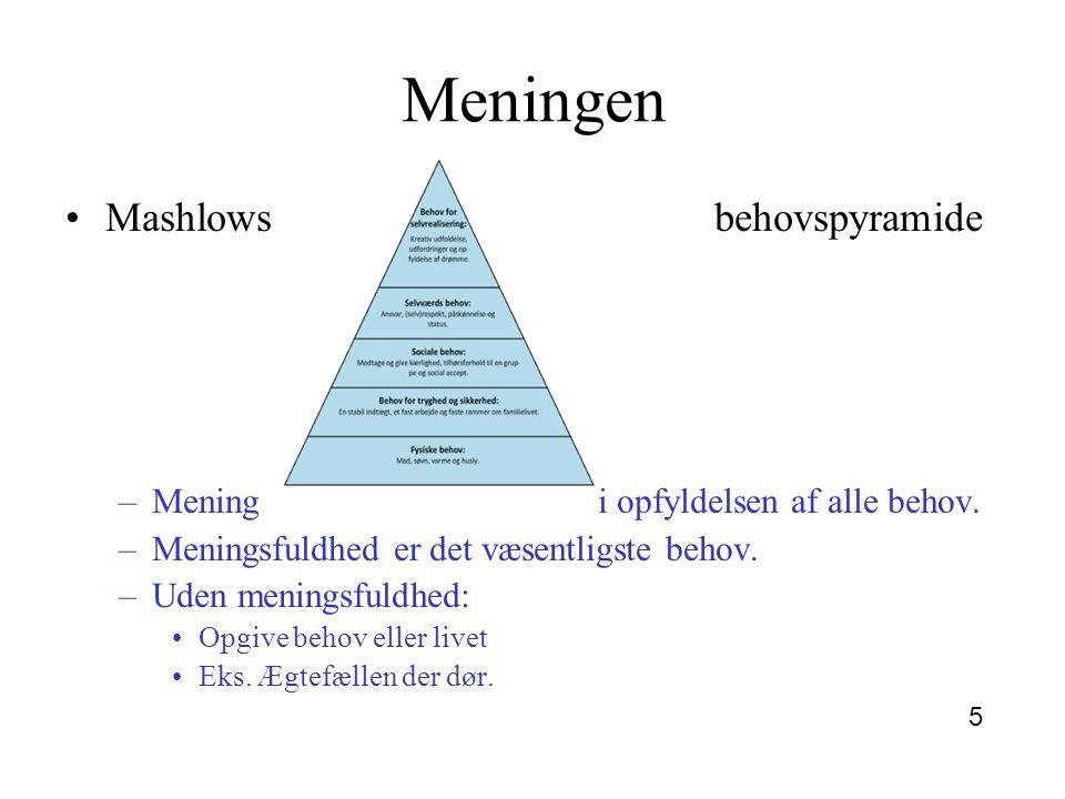 Meningen Mashlows behovspyramide Mening i opfyldelsen af alle behov.