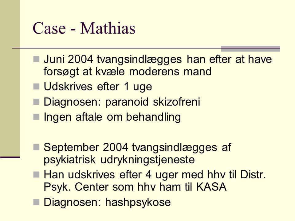 Case - Mathias Juni 2004 tvangsindlægges han efter at have forsøgt at kvæle moderens mand. Udskrives efter 1 uge.