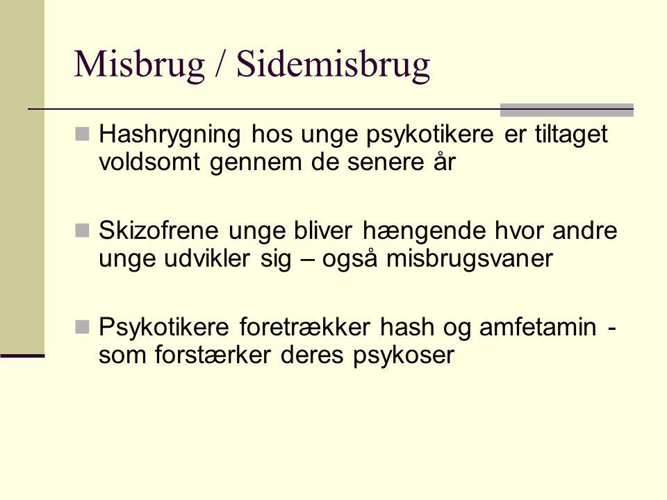 Misbrug / Sidemisbrug Hashrygning hos unge psykotikere er tiltaget voldsomt gennem de senere år.