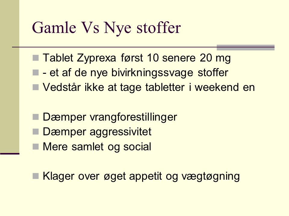 Gamle Vs Nye stoffer Tablet Zyprexa først 10 senere 20 mg