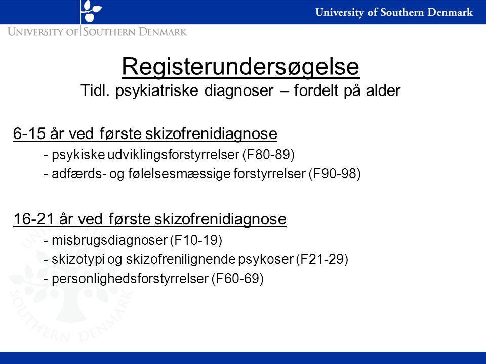 Registerundersøgelse Tidl. psykiatriske diagnoser – fordelt på alder