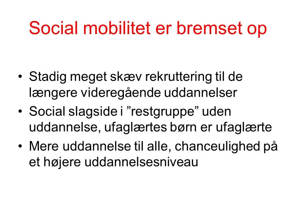 Social mobilitet er bremset op