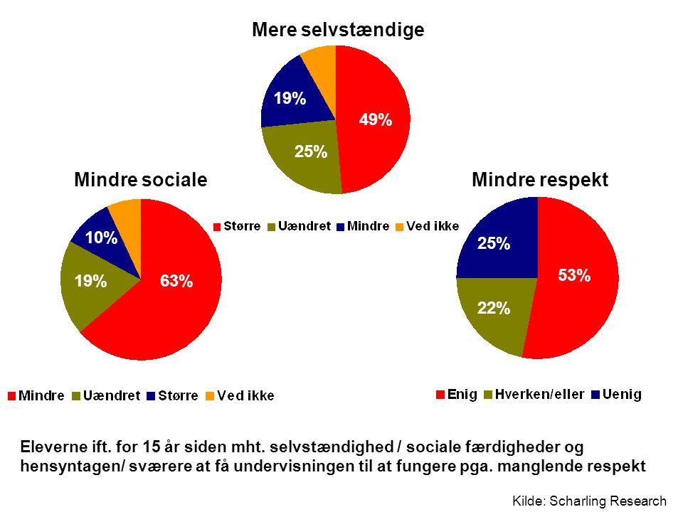 Mere selvstændige Mindre sociale Mindre respekt 19% 49% 25% 10% 25%