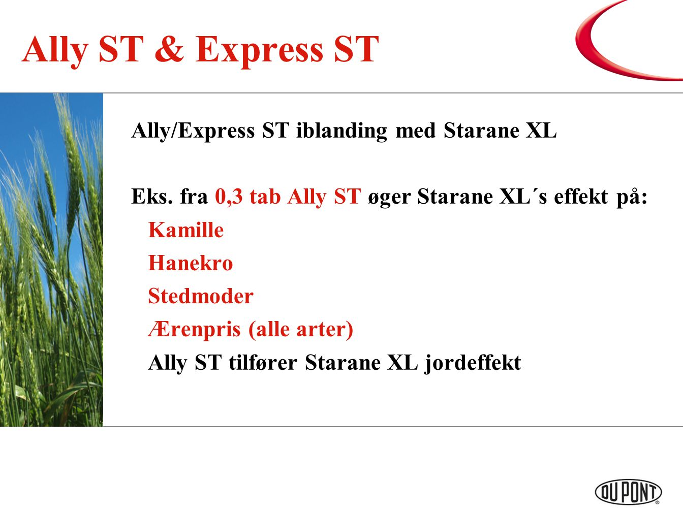 Ally ST & Express ST Ally/Express ST iblanding med Starane XL