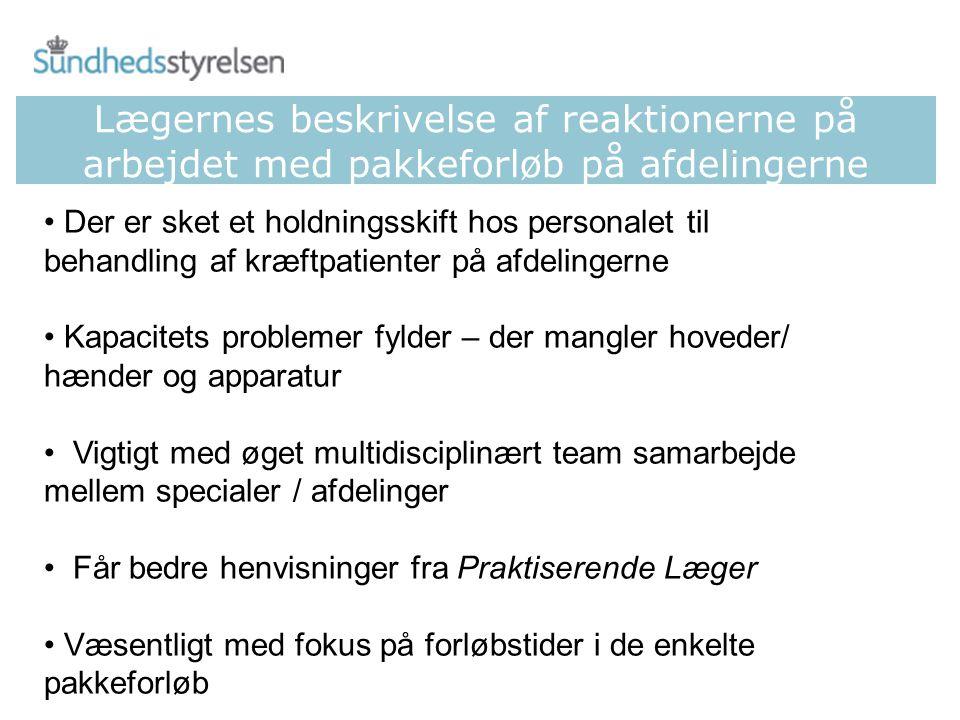 Lægernes beskrivelse af reaktionerne på arbejdet med pakkeforløb på afdelingerne
