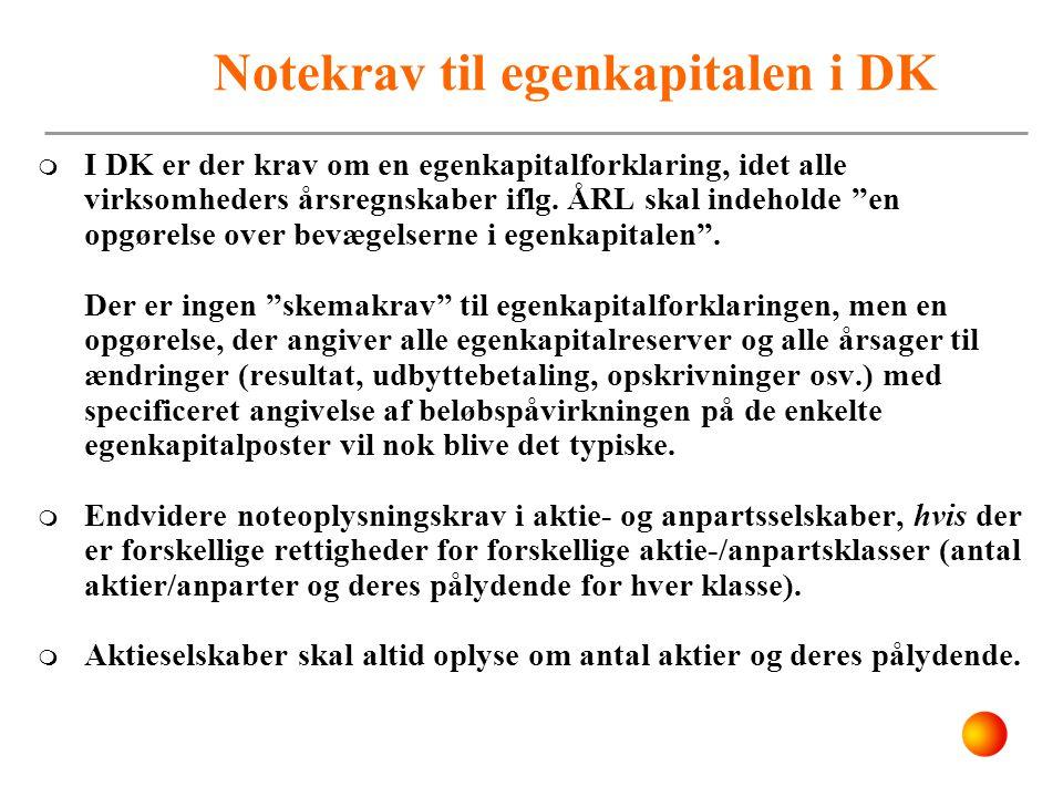Notekrav til egenkapitalen i DK
