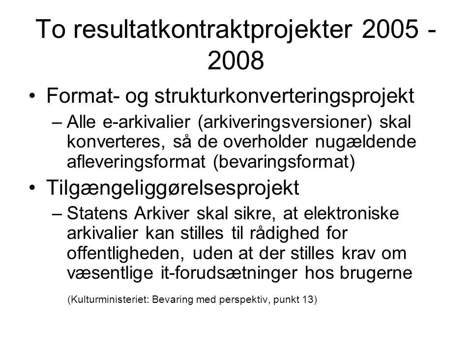 To resultatkontraktprojekter 2005 - 2008