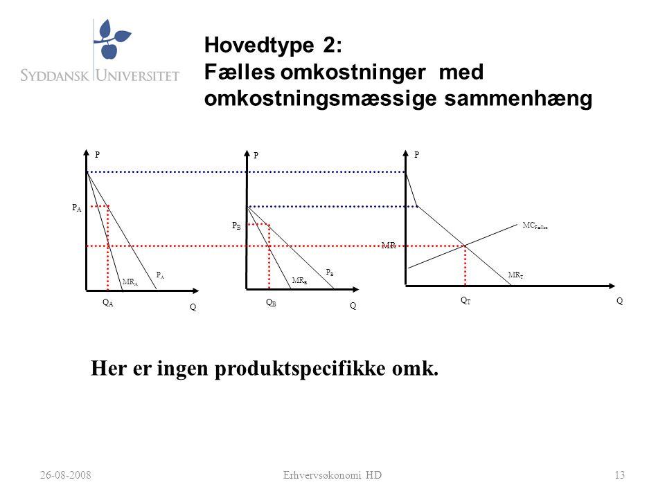 Hovedtype 2: Fælles omkostninger med omkostningsmæssige sammenhæng
