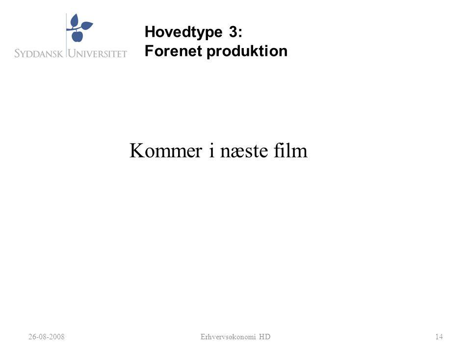 Kommer i næste film Hovedtype 3: Forenet produktion 26-08-2008