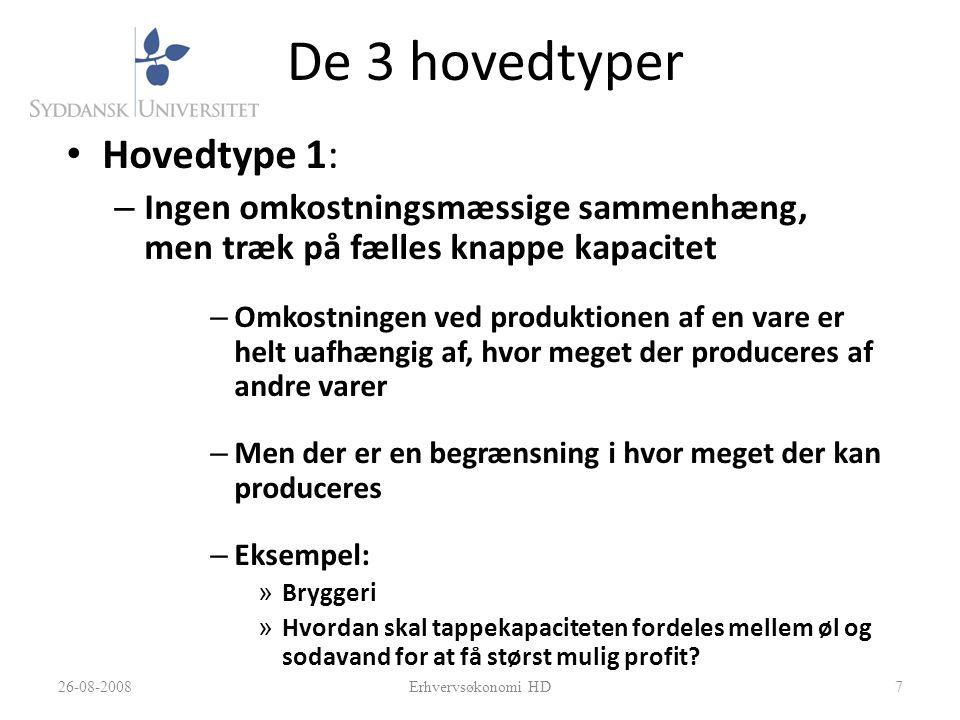 De 3 hovedtyper Hovedtype 1: