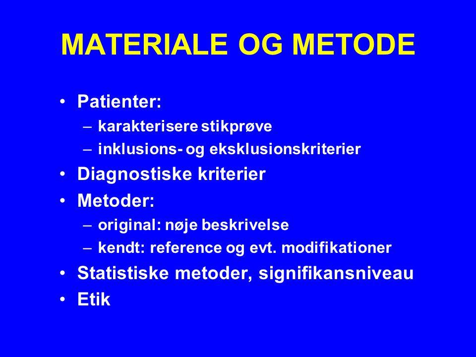 MATERIALE OG METODE Patienter: Diagnostiske kriterier Metoder: