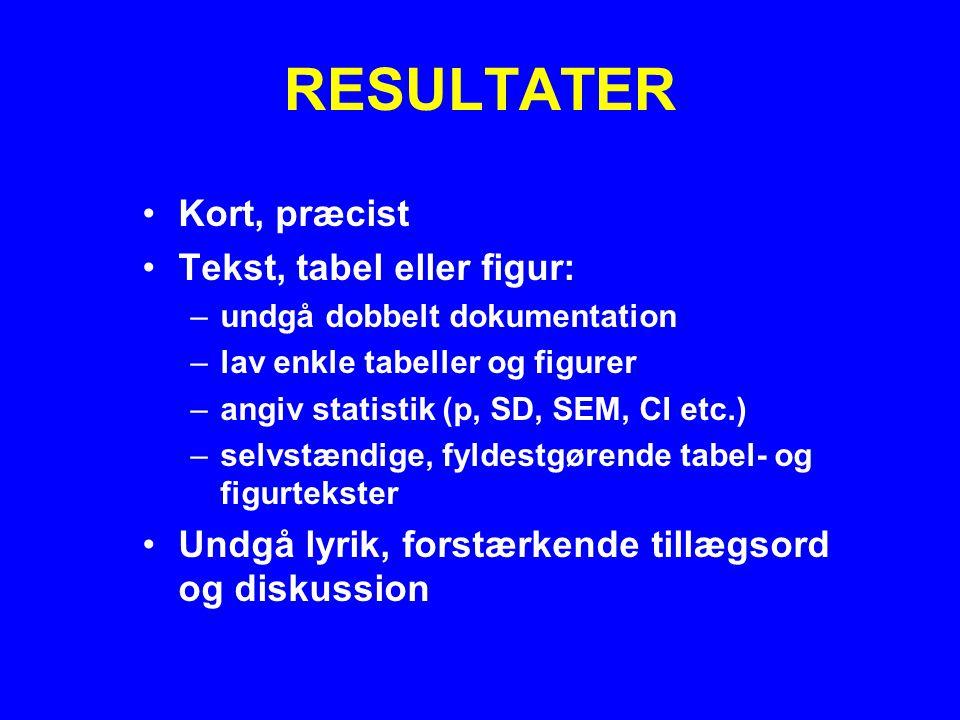 RESULTATER Kort, præcist Tekst, tabel eller figur: