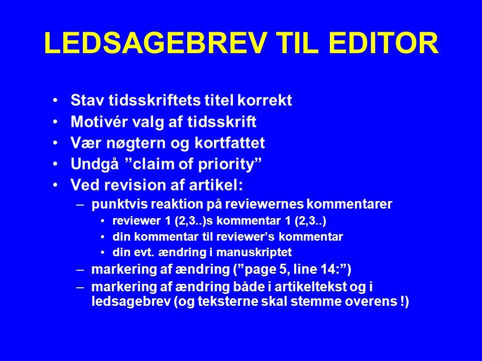 LEDSAGEBREV TIL EDITOR