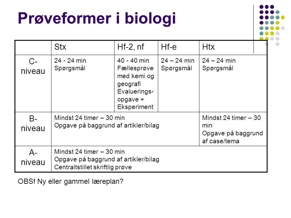 Prøveformer i biologi Stx Hf-2, nf Hf-e Htx C-niveau B-niveau A-niveau