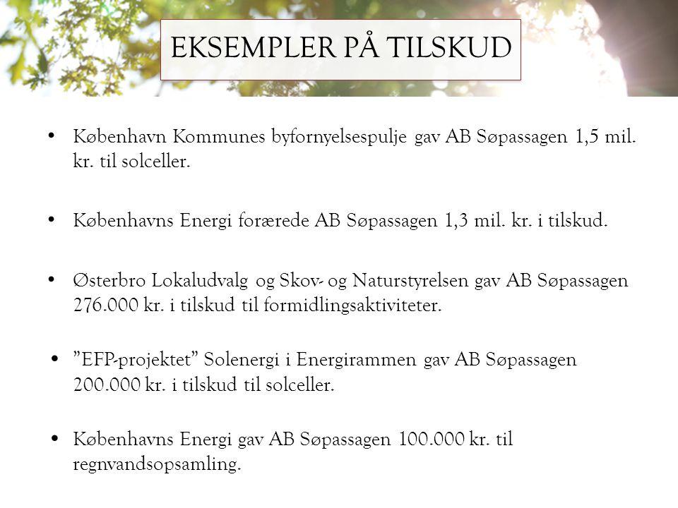EKSEMPLER PÅ TILSKUD København Kommunes byfornyelsespulje gav AB Søpassagen 1,5 mil. kr. til solceller.