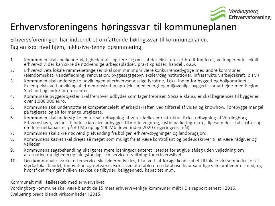 Erhvervsforeningens høringssvar til kommuneplanen