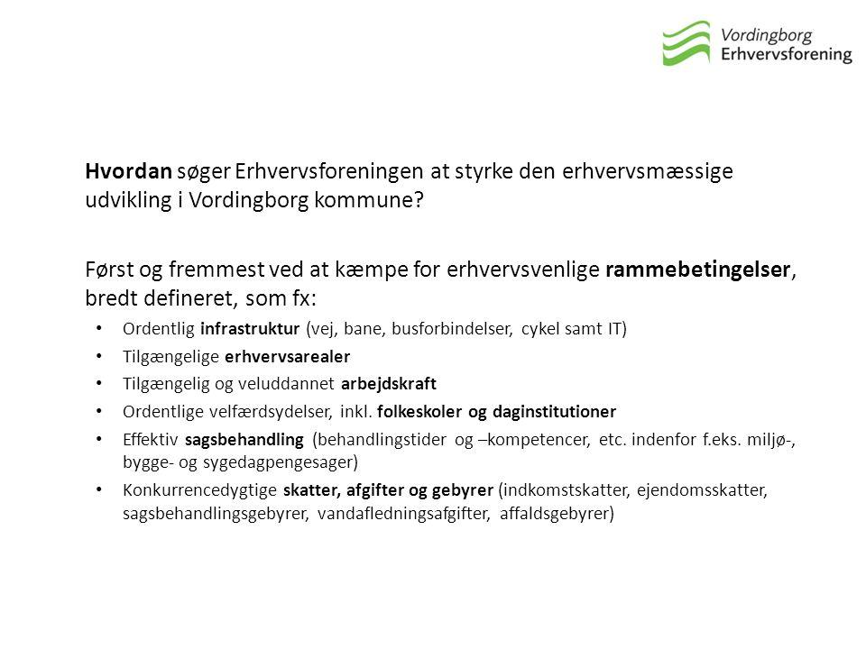 Hvordan søger Erhvervsforeningen at styrke den erhvervsmæssige udvikling i Vordingborg kommune