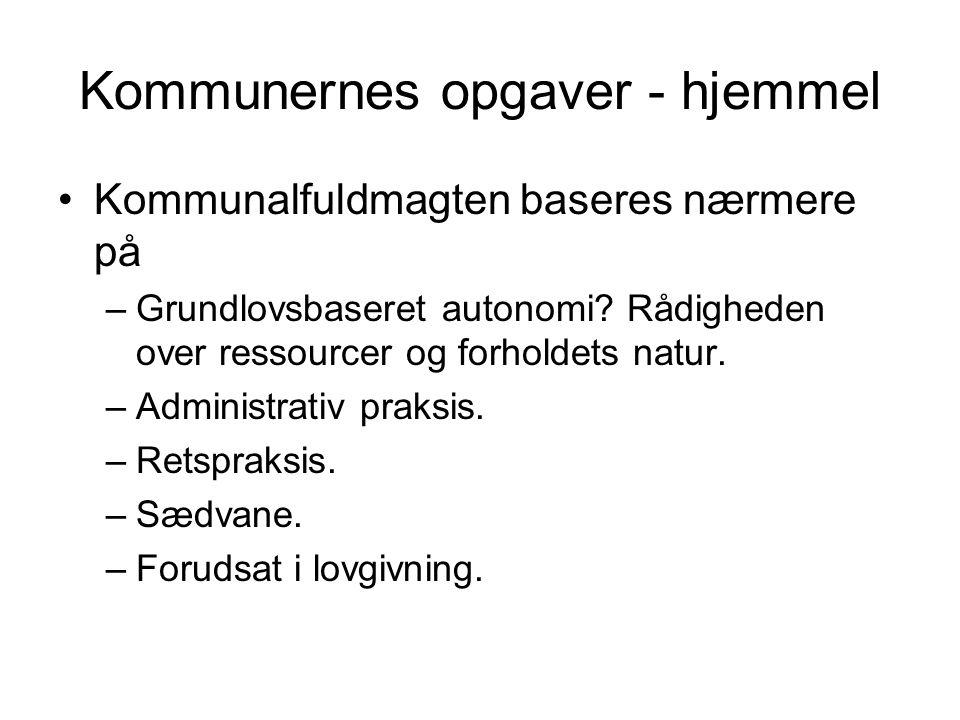 Kommunernes opgaver - hjemmel