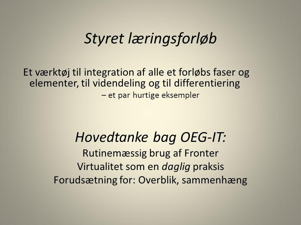 Styret læringsforløb Hovedtanke bag OEG-IT: