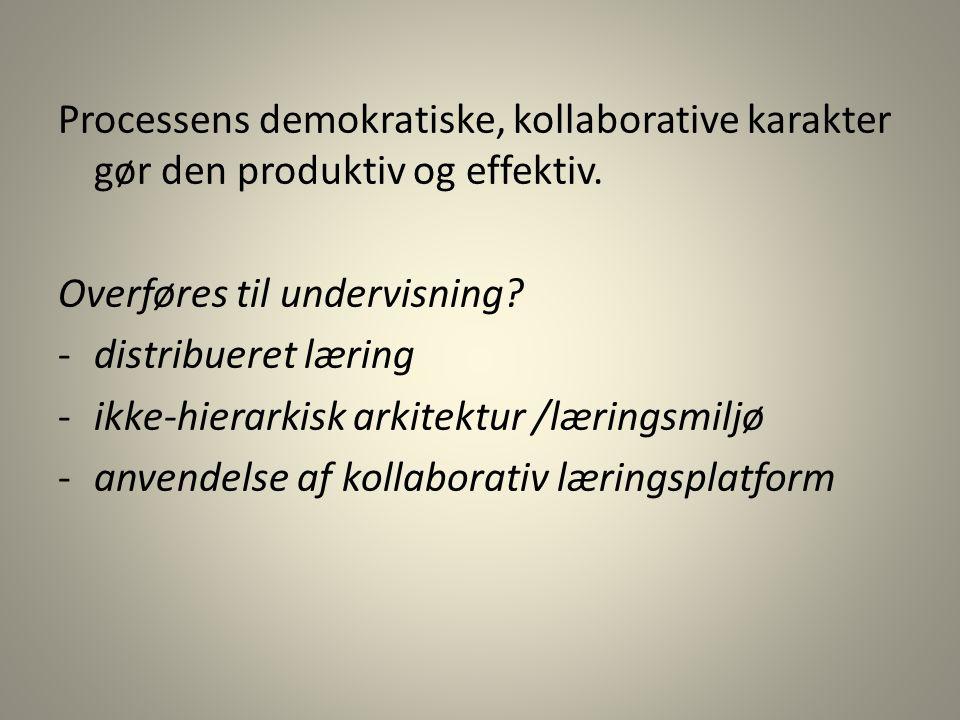 Processens demokratiske, kollaborative karakter gør den produktiv og effektiv.