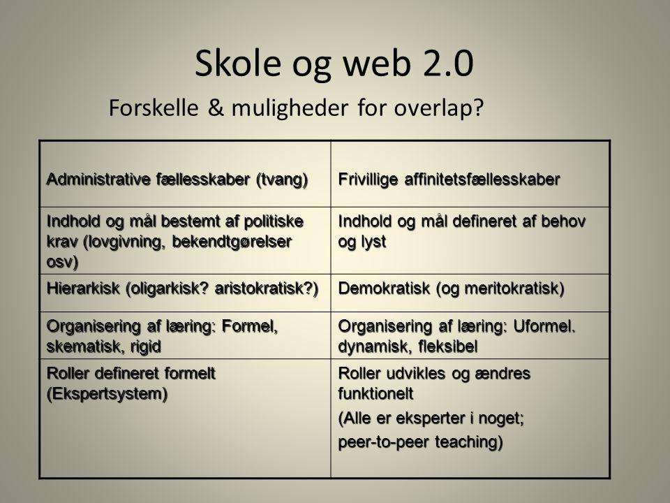 Skole og web 2.0 Forskelle & muligheder for overlap