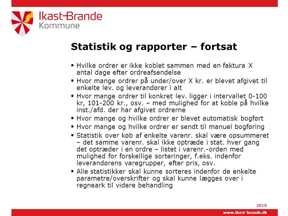 Statistik og rapporter – fortsat