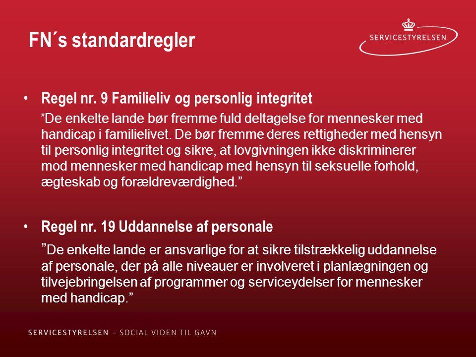 FN´s standardregler Regel nr. 9 Familieliv og personlig integritet