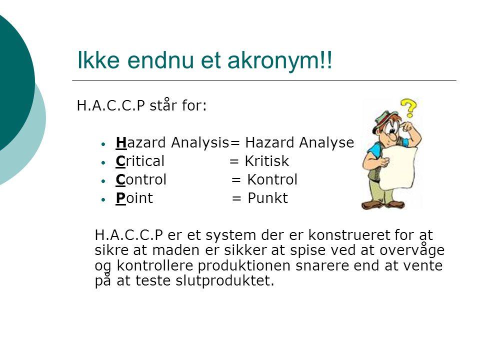 Ikke endnu et akronym!! H.A.C.C.P står for: