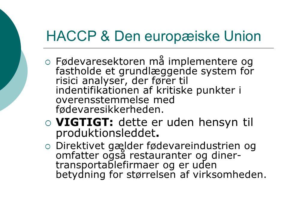 HACCP & Den europæiske Union