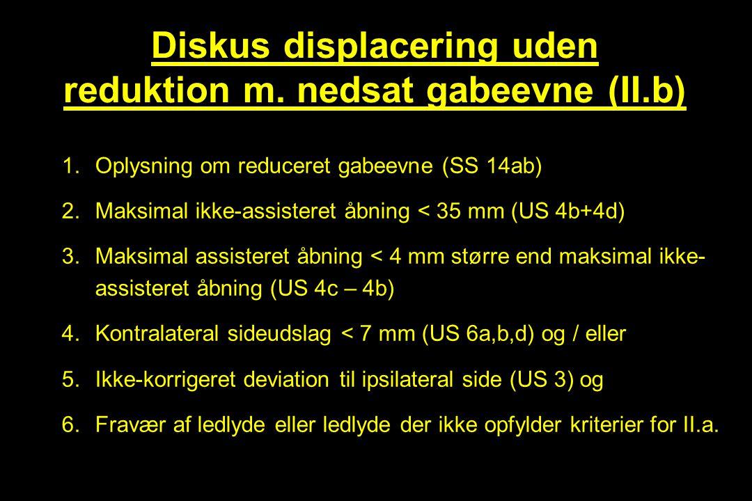 Diskus displacering uden reduktion m. nedsat gabeevne (II.b)