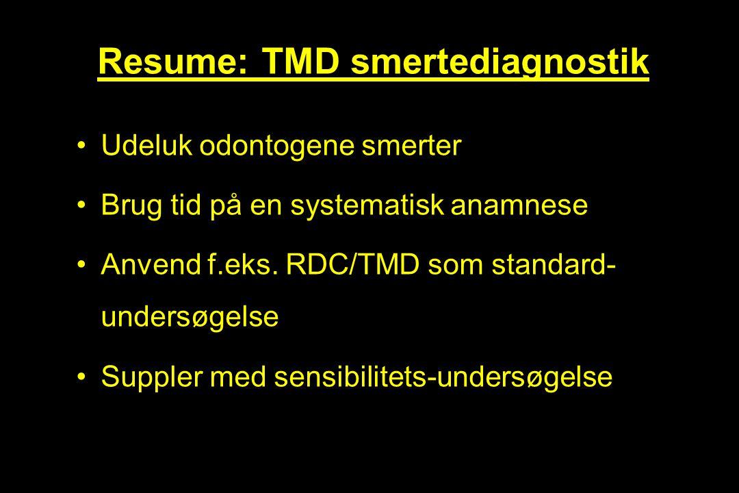 Resume: TMD smertediagnostik
