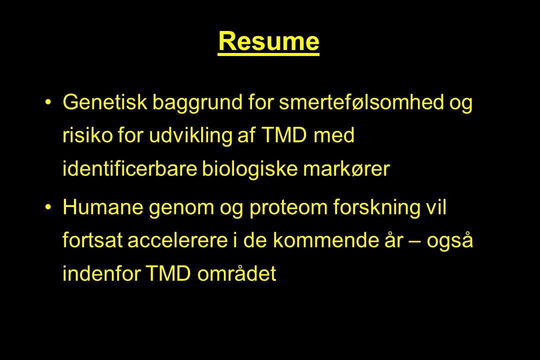 Resume Genetisk baggrund for smertefølsomhed og risiko for udvikling af TMD med identificerbare biologiske markører.