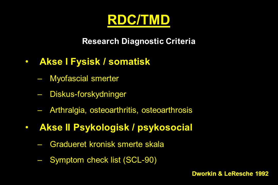 RDC/TMD Research Diagnostic Criteria