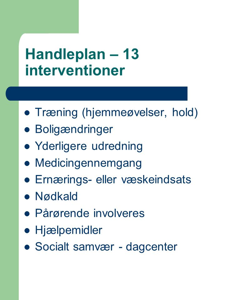 Handleplan – 13 interventioner