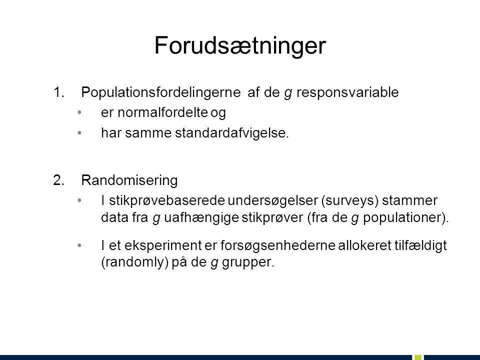 Forudsætninger Populationsfordelingerne af de g responsvariable