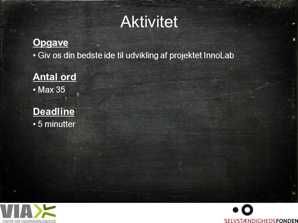 Aktivitet Opgave Antal ord Deadline