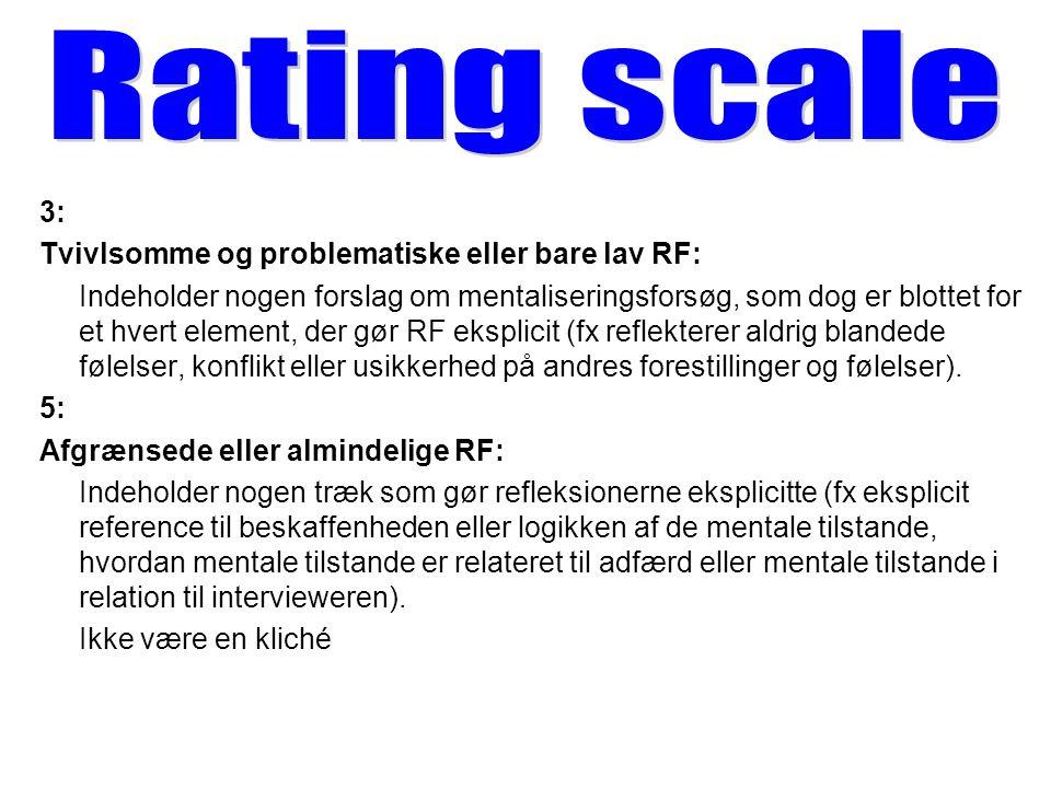 Rating scale 3: Tvivlsomme og problematiske eller bare lav RF: