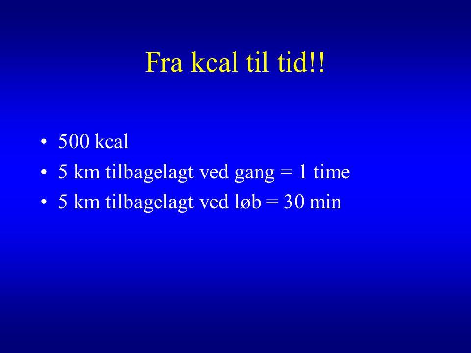 Fra kcal til tid!! 500 kcal 5 km tilbagelagt ved gang = 1 time
