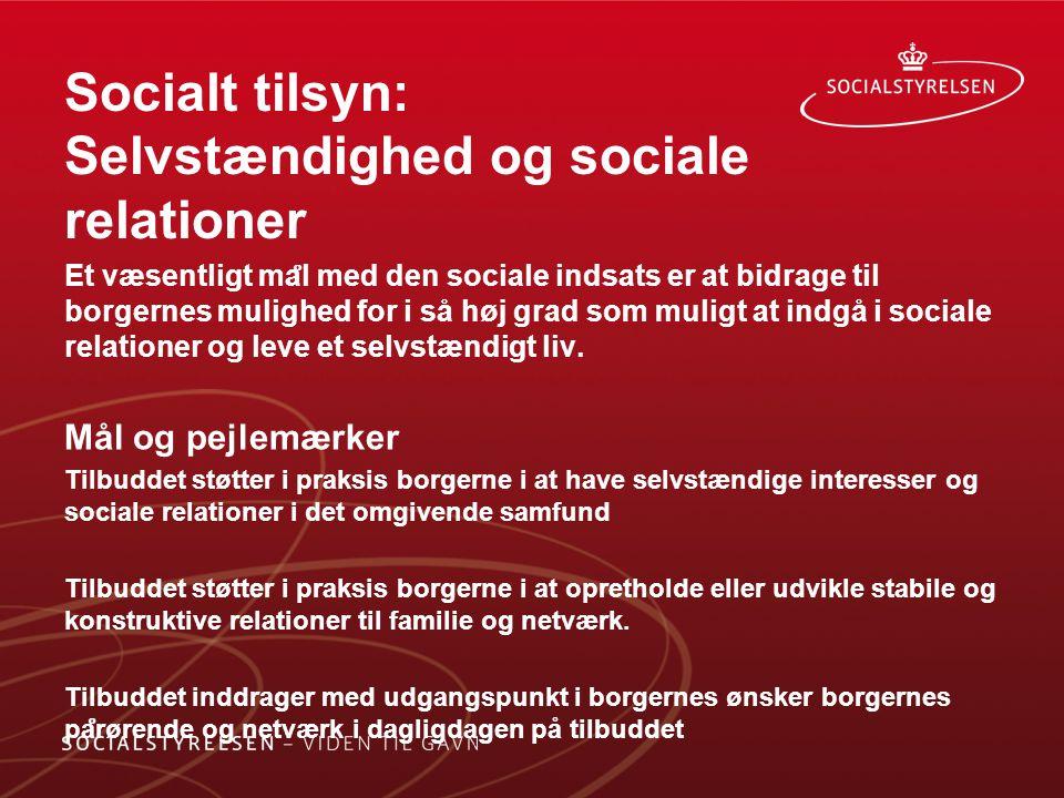 Socialt tilsyn: Selvstændighed og sociale relationer