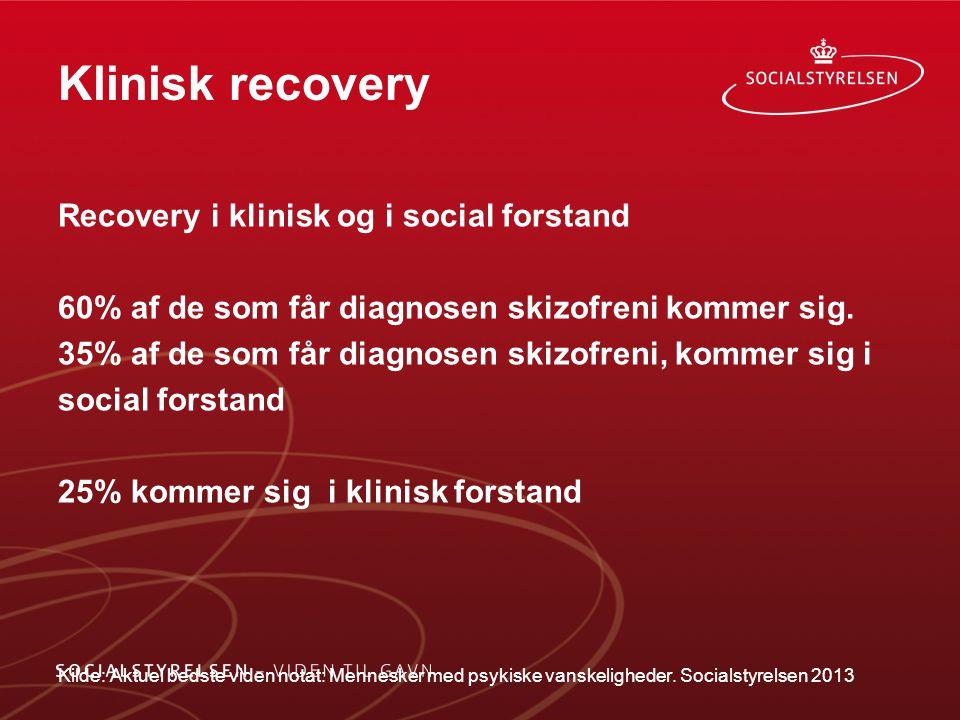 Klinisk recovery Recovery i klinisk og i social forstand