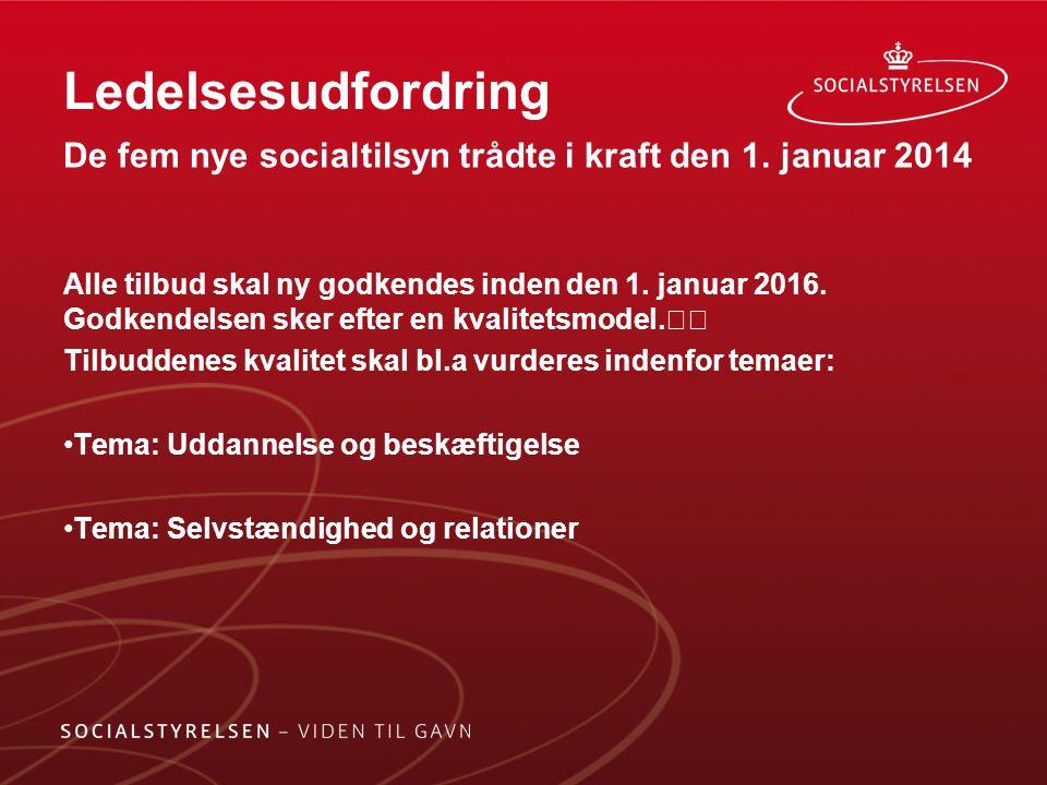 Ledelsesudfordring De fem nye socialtilsyn trådte i kraft den 1. januar 2014.