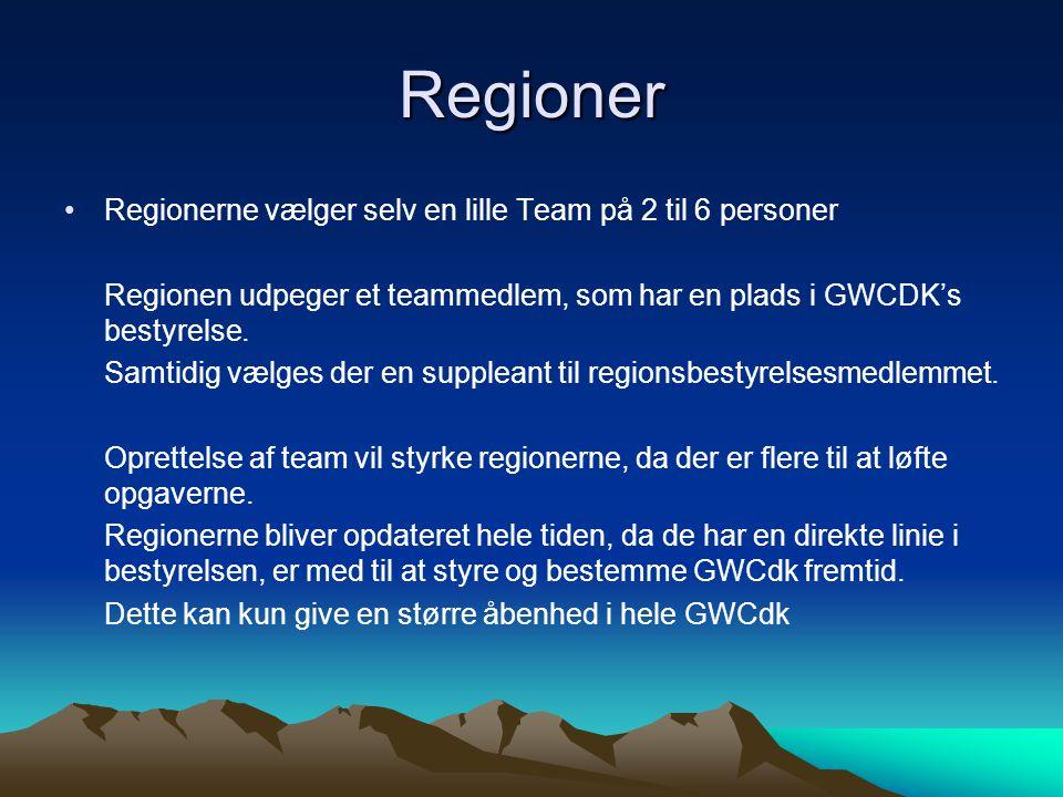 Regioner Regionerne vælger selv en lille Team på 2 til 6 personer