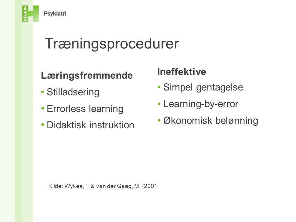 Træningsprocedurer Ineffektive Læringsfremmende: Simpel gentagelse