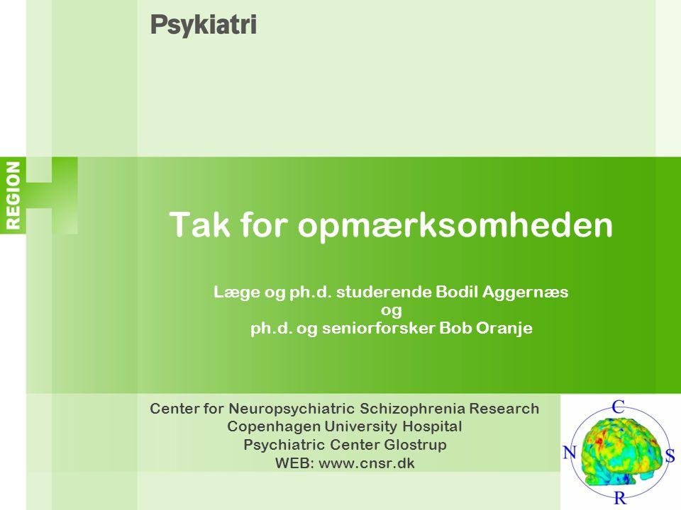 Tak for opmærksomheden Læge og ph. d. studerende Bodil Aggernæs og ph